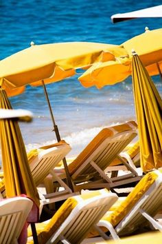 yellow beach umbrellas